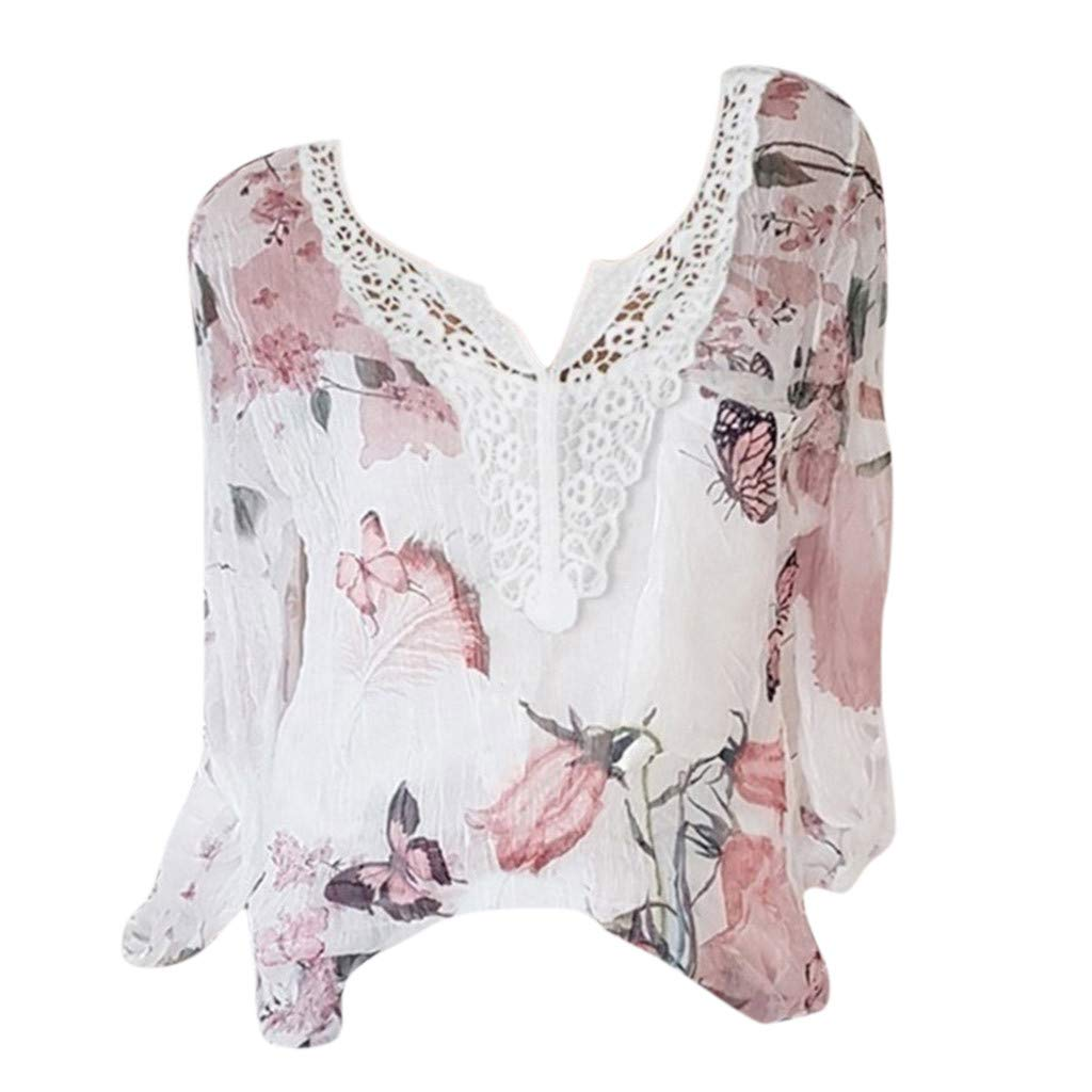 ✿HebeTop✿ Women Chiffon Shirts Floral Printed Henley V Neck Blouses Cuffed Sleeve Tunic Tops White by HebeTop➟Women's Clothing