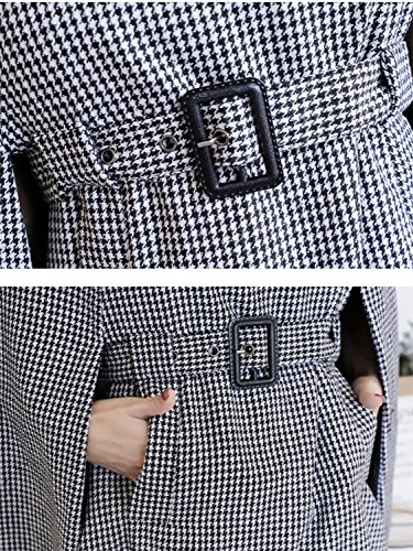 Black Houndstooth Belted Waist Cape Coat with Side Pockets S by Clothink (Image #5)
