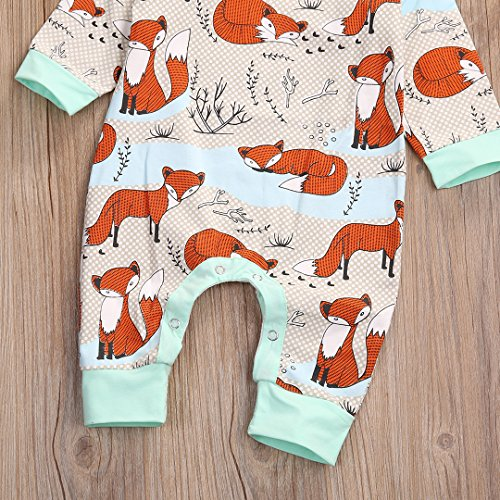 Newborn Baby Boy Girl Romper Infant Fox Jumpsuit Long Sleeves Outfits Clothes (70(0-3M), Floral)