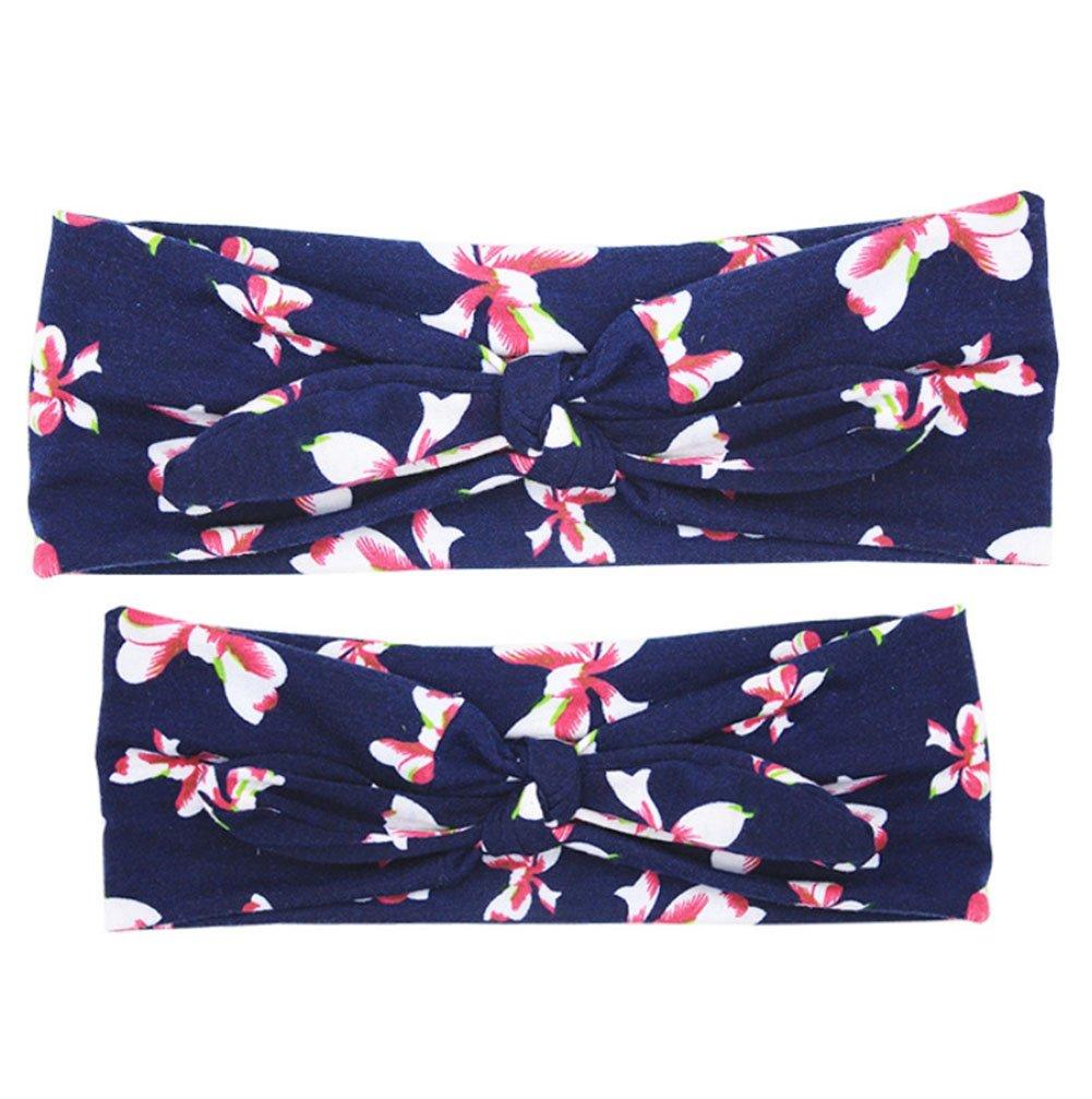 CAOLATOR Bébé et Maman Floral bowknot Set Bandeau Imprimé élastique Filles Femmes