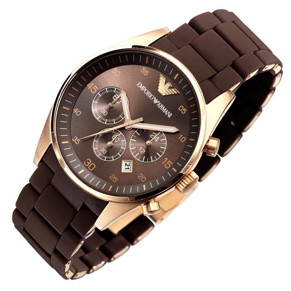 5fc024692102 Emporio Armani AR5890 Hombres de cuarzo oro rosa deporte silicona reloj  cronógrafo de acero inoxidable  Amazon.es  Relojes