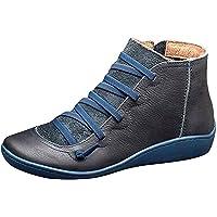 BotinesMujer InviernoBotasNieve Faux CueroZapatillasCordonesCremallera Ankle Boots Planos Cálido