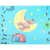 Funpa Baby Monthly Milestone Blanket Moon Stars Printed Baby Photo Blanket Photo Prop