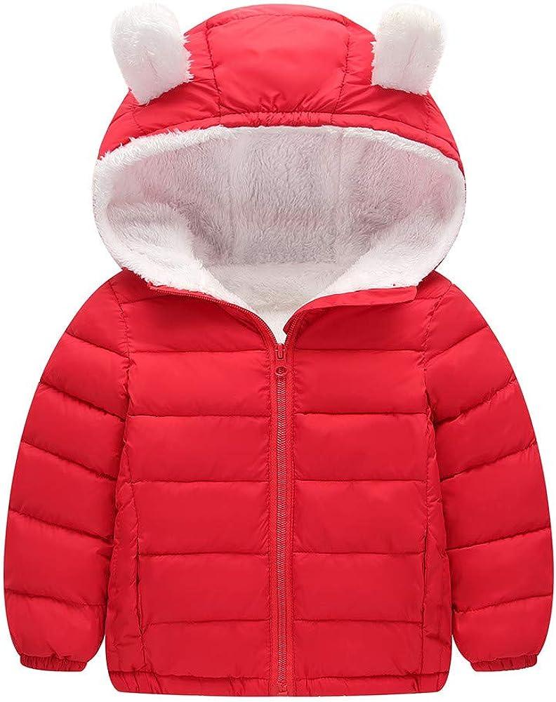 KONFA Teen Toddler Baby Boys Girls Winter Clothes,Cotton-Padded Down Jacket Hooded Coat,Kids Warm Thick Zipper Cloak Set