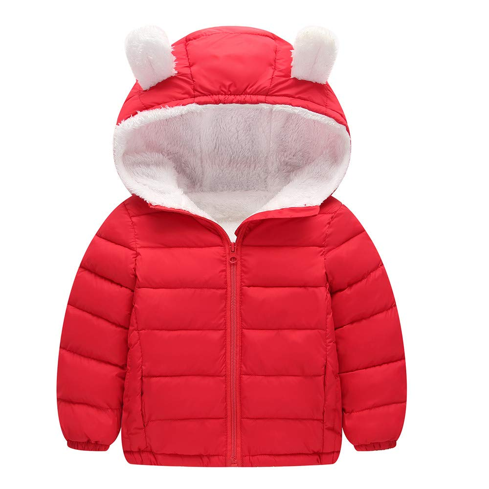Jarsh Kids Baby Boy Girl Winter Solid Coat Jacket Thick Warm Hoodie Outerwear Clothes
