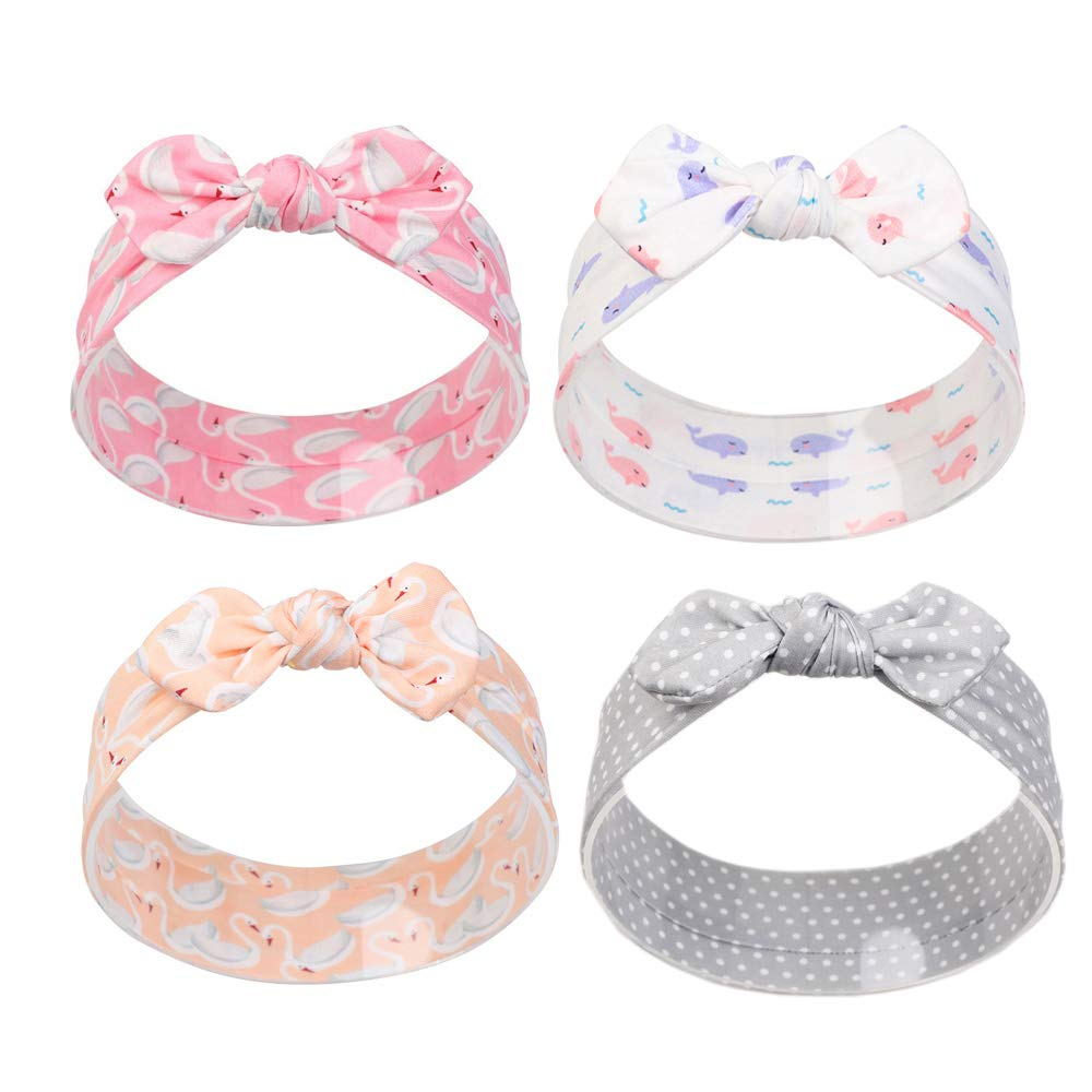 4pcs Baby Girl Headbands Stretchy Baby Hair Bows for Infant Toddler
