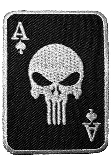 [Spade Card Poker Skull Embroidered Sewing Iron on Patch - Black and White by Ranger Return] (Pirate Clothing And Accessories)