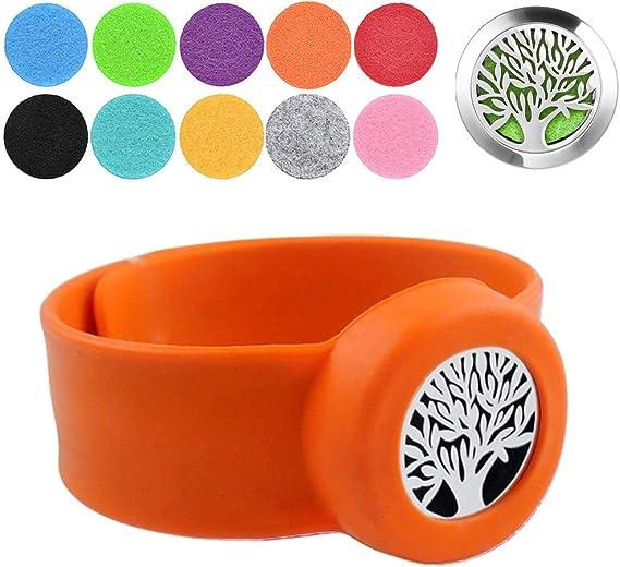 アロマセラピーブレスレットツリーオブライフシリコンスラップブレスレットパーティーリストバンド洗えるインサートパッド10個付き 女の子&男の子用 パーティーの好意 (Color : H)