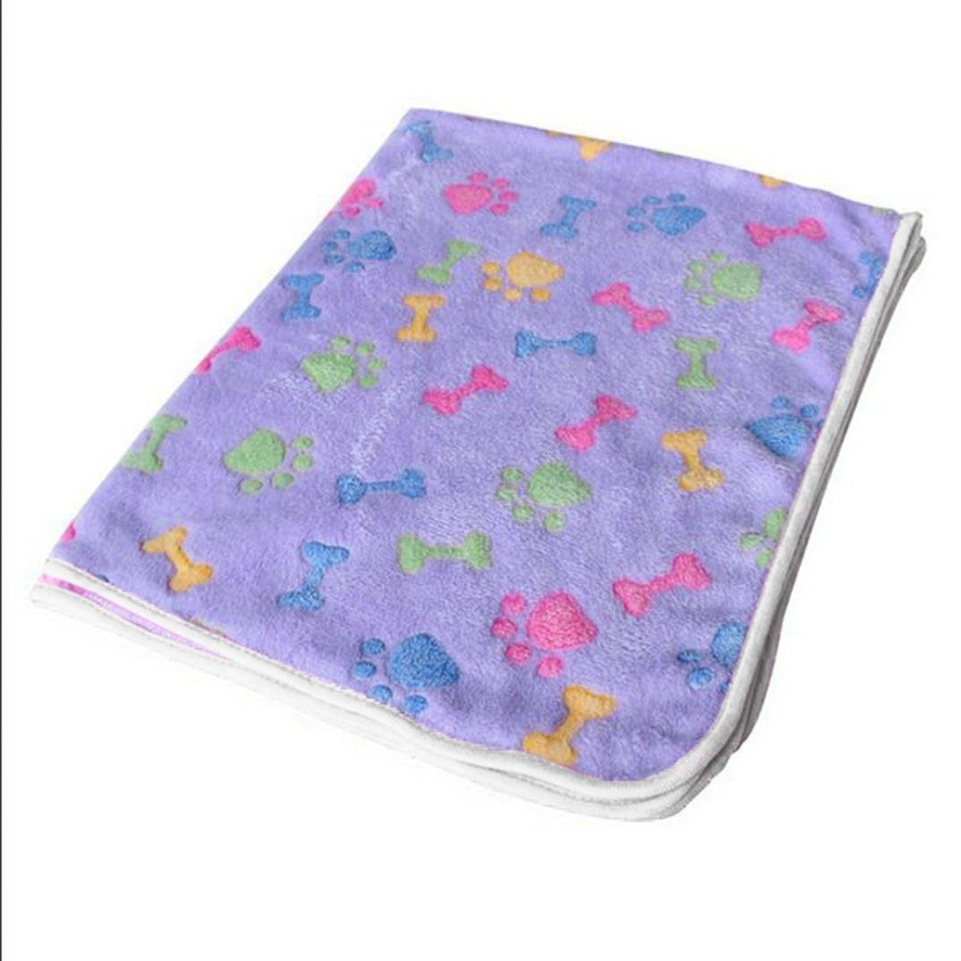 LUQUAN Hamsters Pad Blanket Pet Cat Mat Dog Puppy Warm Bed Paw Coral Fleece Cover Large,Purple