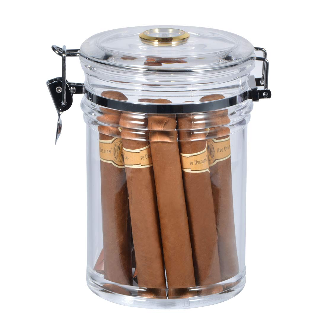Acrylic Cigar Humidor Jar with Hygrometer, Clear Cigar Storage Container with Airtight Lid, Desktop Tobacco Case Holds About 20 Cigars