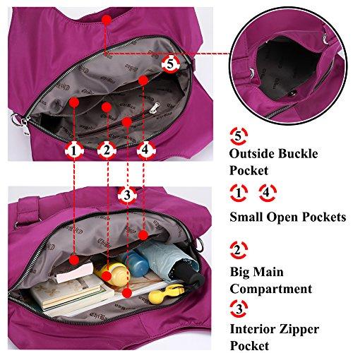 Multi function Big Waterproof Women Shoulder Travel Bag Tote and Blue Handbag Hobo Organzier Purse Nylon Capacity Bag 8HqHzpw