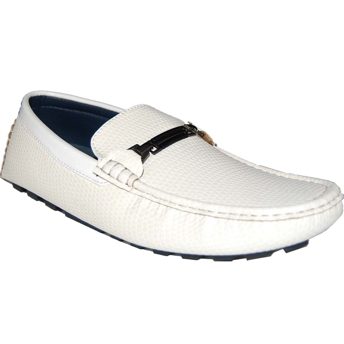 KRAZY SHOE ARTISTS Ultra-Fine Thin Leather Look White Men Penny Loafers -Size 9