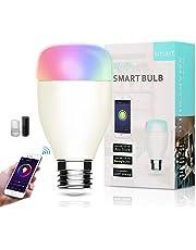 Lampadina Wifi Intelligente, Smart Bulb LED E27 RGB 7W Compatibile con Amazon Alexa e Google Assistant Luce Regolabile Compatibile per Dispositivo iOS Android App Controllata Nessun hub richiesto