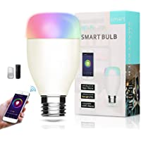 Lampadina Wifi Intelligente, Smart Bulb LED E27 RGB 7W Compatibile con Amazon Alexa e Google Assistant Luce Regolabile Compatibile per Dispositivo iOS Android App Controllata Nessun hub richiesto