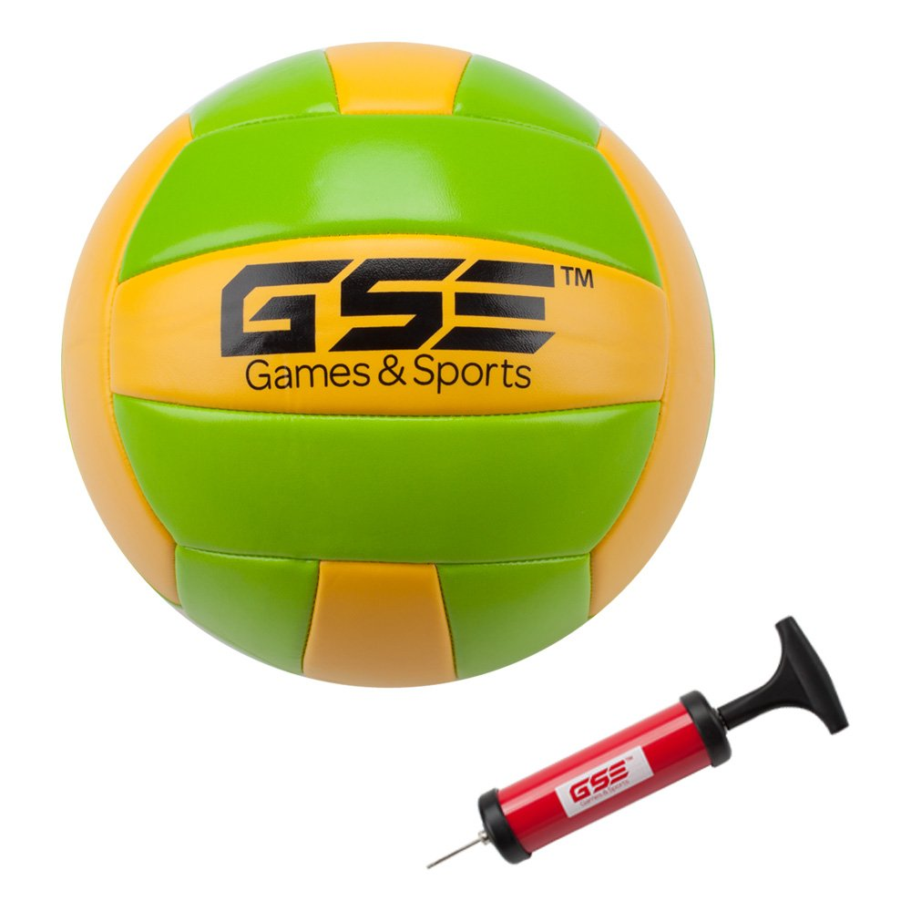 Volleyball And Pump Lawn Great for Backyard Park And Beach Professional Portable Volleyball And Badminton Complete Set 4 Badminton Racquets and 3 Shuttlecocks Come with Net System Carrying Bag