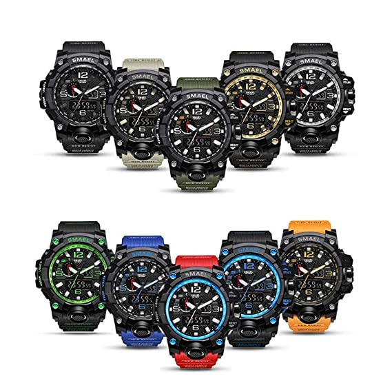 Amazon.com: SMAEL Military Watch, Big Face Sports Watch Army Style Multifunctional Wrist Watch for Youth (Black): Sports & Outdoors
