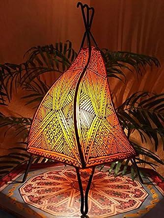 Marrakesch - Lámpara de mesa Emira 43 cm Piel Proyección ...