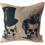 Nunubee Linge de Coton Housse de Coussin Carré Taie d'oreiller de Décoration de la Maison Voiture Lit Canapé 45 x 45 cm Deux Crânes