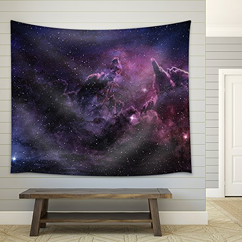 Purple Nebula and Cosmic Dust in Star Field Fabric Wall