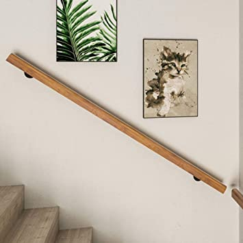 Handrails Natural Wooden Stair Rail Wall Mount Elderly Railings Safety Hand Support Rail Corridor Rod Size Optional 3ft~20ft Grab Bar Complete Kit