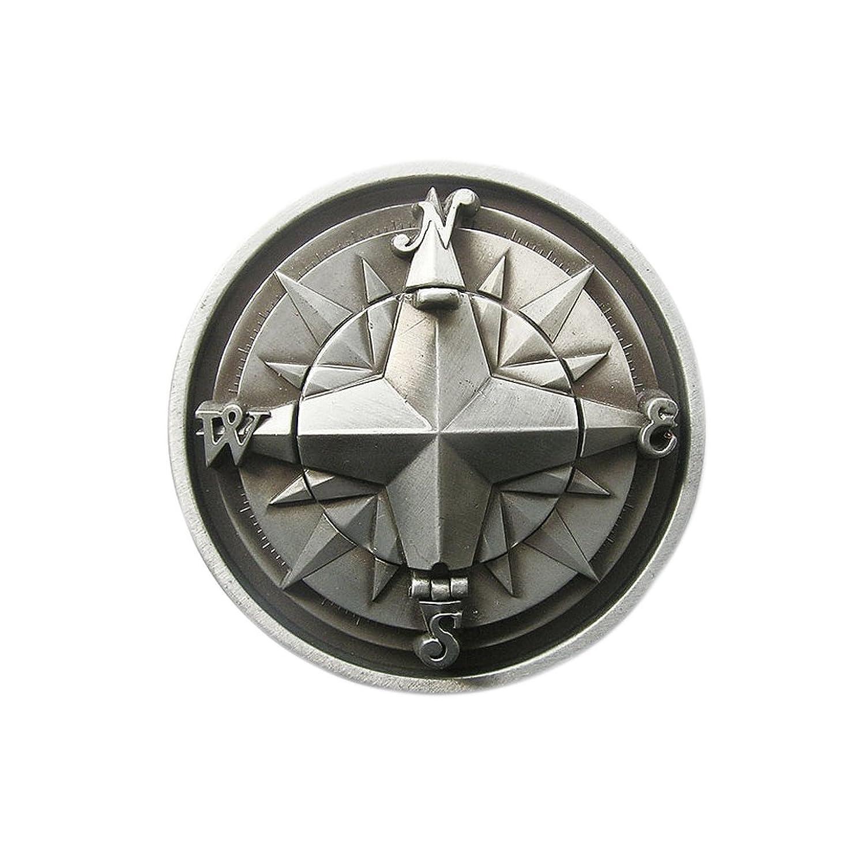 eeddoo® Gürtelschnalle - Antiker Kompass - 3D - klappbar - Gürtelschnalle (Buckle für Wechselgürtel für Damen und Herren | Belt Frauen Männer Oldschool Rockabilly Metall Biker Western Trucker Casino)