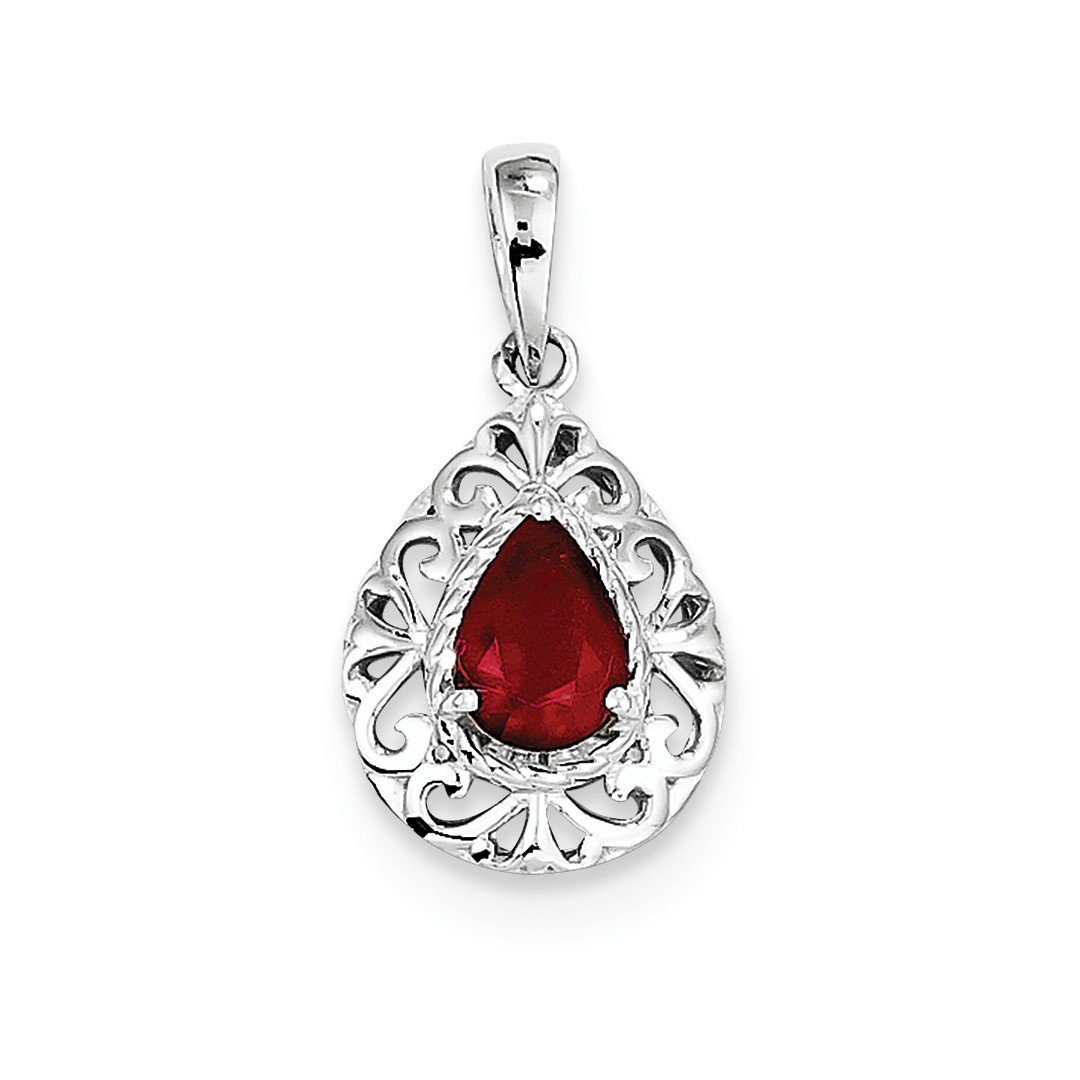 ICE CARATS 925 Sterling Silver Glass Filled Red Ruby Teardrop Pendant Charm Necklace Gemstone Fine Jewelry Gift Set For Women Heart