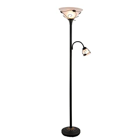 CO Z 3 Way Switch Combo Floor Lamp Torchiere With Side Reading Light,
