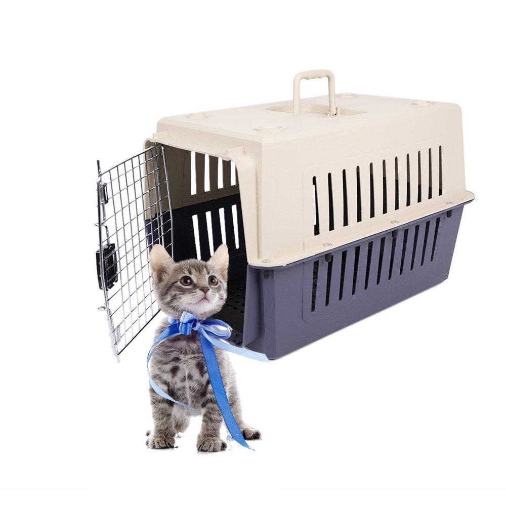 Livebest Pet carrier Load Pet Kennel-Hard Sided Cat&dog Box (M, Darkblue)