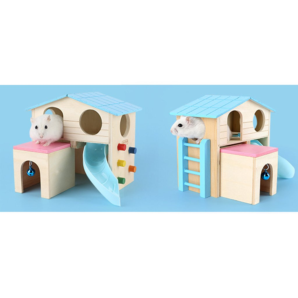 joyMerit Set of 2 Wooden Hamster House Play Nest Cage Exercise Toys for Dwarf Hamster Gerbil Rat Small Animals Cage by joyMerit