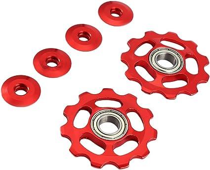 Vorcool 2 Stücke Schaltröllchen Fahrrad Schaltwerk Riemenscheibe 11t Aluminium Für Shimano Rot Sport Freizeit