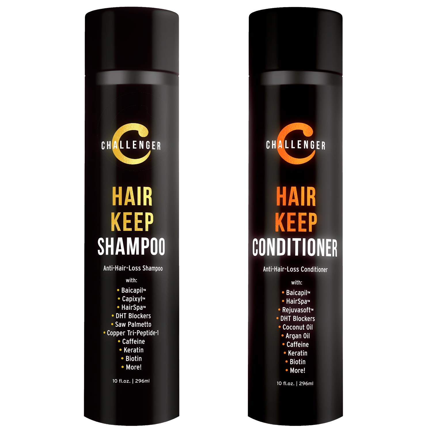 New Hair Keep Combo - Hair Growth Shampoo & Conditioner - Challenger DHT Blocking Premium Combo - w/Baicapil, Capixil, Rejuvasoft, HairSpa, Caffeine, Biotin, Argan Oil, Coconut Oil & more! by Challenger