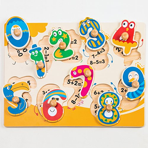 ROBOTIME Colorful Wooden Number Peg Puzzle Smooth Easy-Grab Peg Puzzle Game for Toddlers 1 2 3 Years