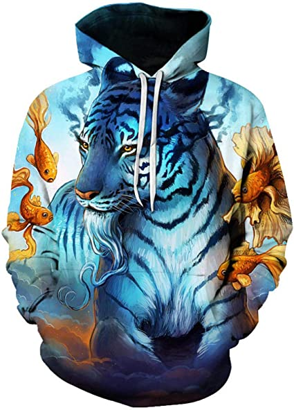Mstyle Mens Loose Athletic Hoodie Autumn 3D Print Pullover Hooded Hoodie Sweatshirt