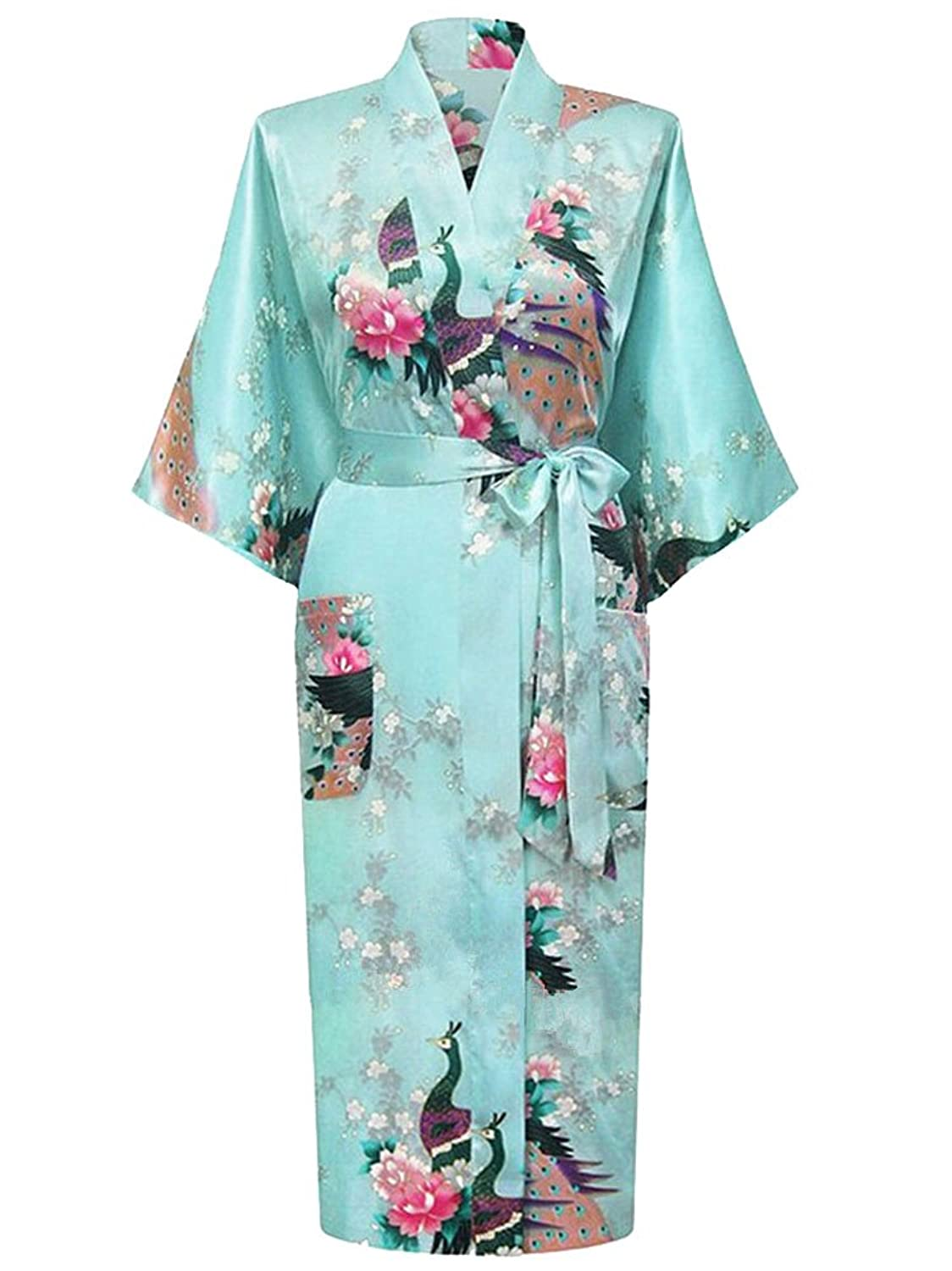 peignoir kimono long femme honoursport kimono japonais en satin sexy robe de chambre 1 2 manches. Black Bedroom Furniture Sets. Home Design Ideas