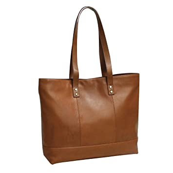 b7ccce81b062 Amazon.com  Bellino Women s Miranda Leather Tote Shoulder Bag Cognac One  Size