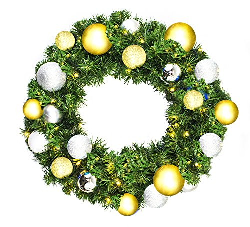 Queens of Christmas WL-GWSQ-04-TREAS-LWW Pre-Lit LED Sequoia Wreath Decorated with The Treasure Collection, 4', Warm White by Queens of Christmas