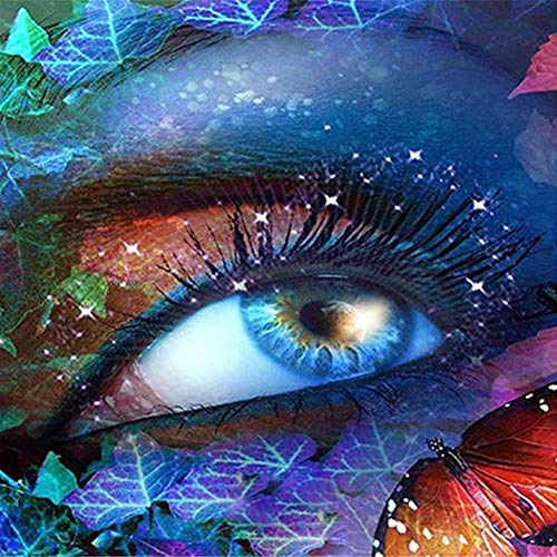 DIY 5D Diamond Painting Kit,Cross Embroidery Stitch Arts Craft Supply for Home Wall Decor Colored Blue Eyes 11.8 × 11.8in 1 Pack by UPmall