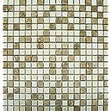 Noche/Chiaro 12 in. x 12 in. x 10 mm Travertine Mesh-Mounted Mosaic Tile