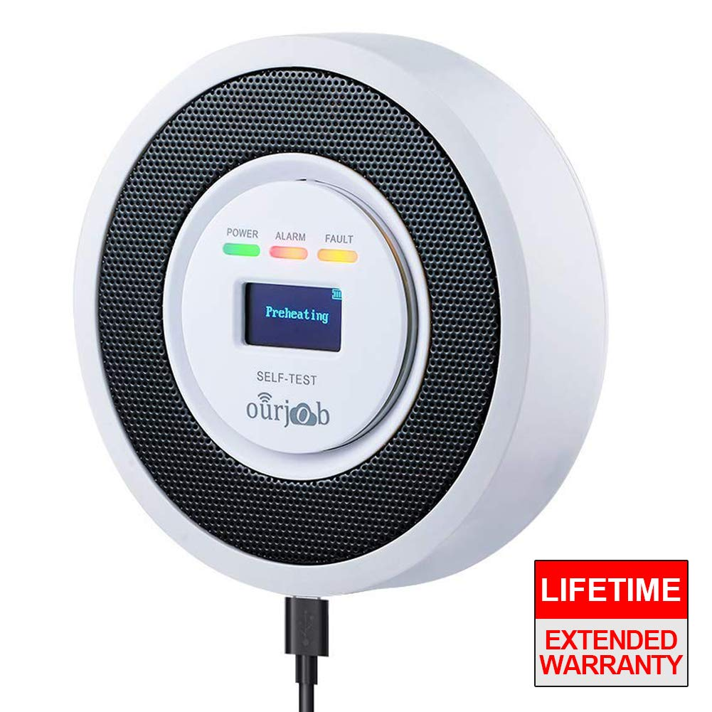 ourjob OJB-RQ706-Y Natural Household LPG/Coal Combustible Leak, Propane Butane Methane Gas Detectors Alarm, USB Powered, Digital Display, Sound Light Warning (White)
