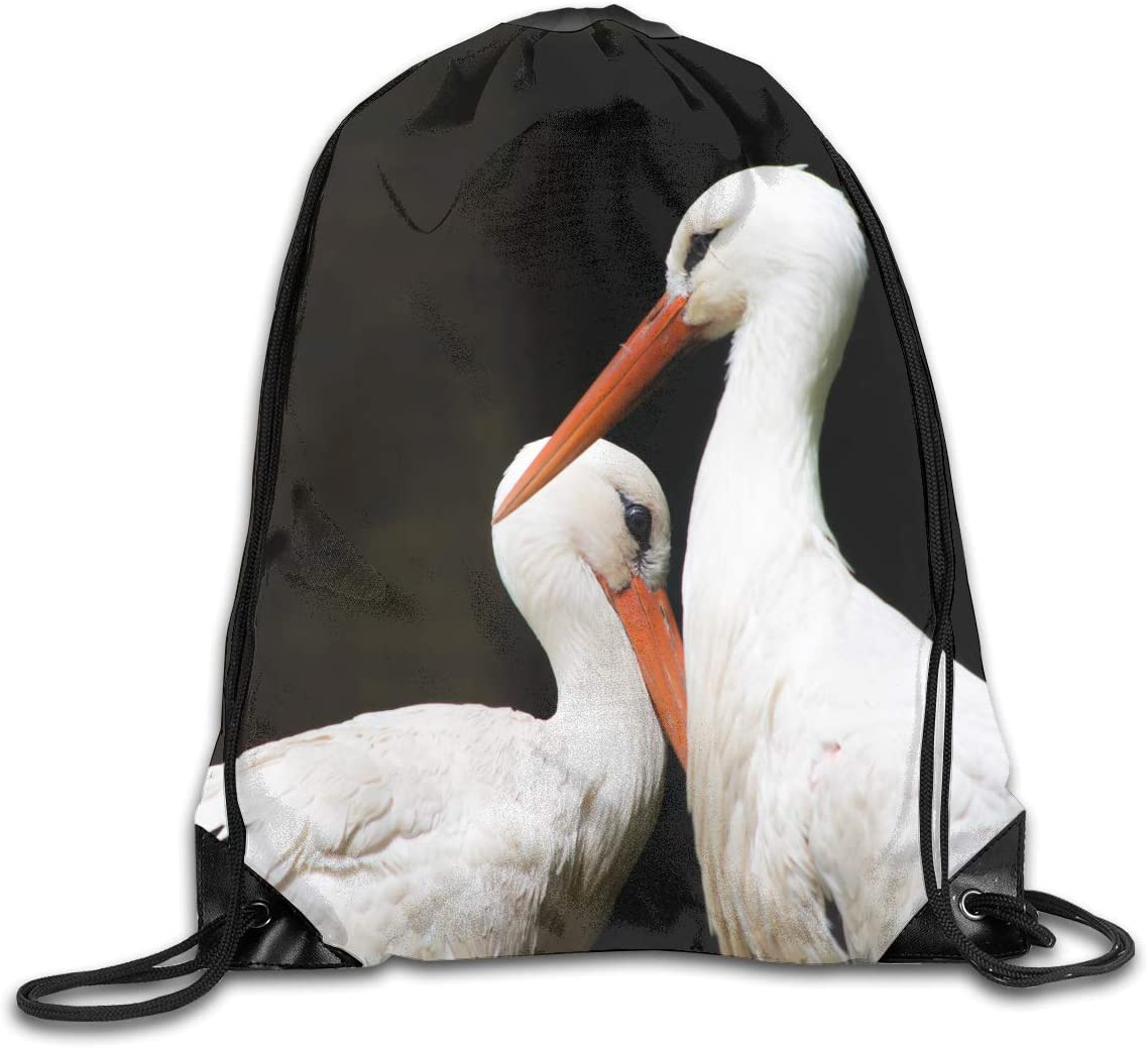 CoolStuff Travel Shoe Bags,Two Long Bill Bird Drawstring Backpack Hiking Climbing Gym Bag,Large Big Durable Reusable Polyester Footwear Protection