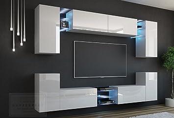 Wohnwand Hersteller wohnwand g weiß hochglanz mdf fronten led beleuchtung push