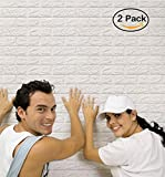 Arthome White Brick 3D Wall Panels Peel and Stick Wallpaper for Living Room Bedroom Background Wall Decoration (2 Pack, White 11.4 sq feet)