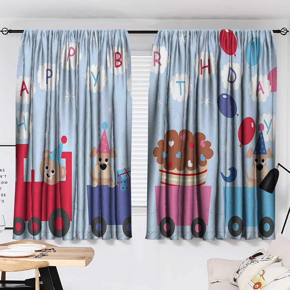 Jinguizi Kids Birthday Two Panels Celebration Baby Bear Dog in Train Balloons Clouds on Light Blue Backdrop Decor Darkening Curtains Multicolor W55 x L39 by Jinguizi (Image #2)