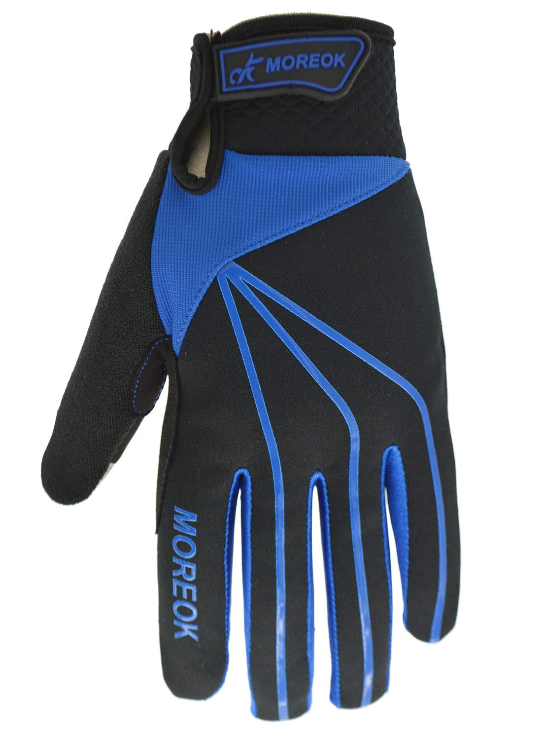 MOREOK Mens Cycling Gloves Touch-Screen Anti-Slip Waterproof Mountain Road Gloves Navy M