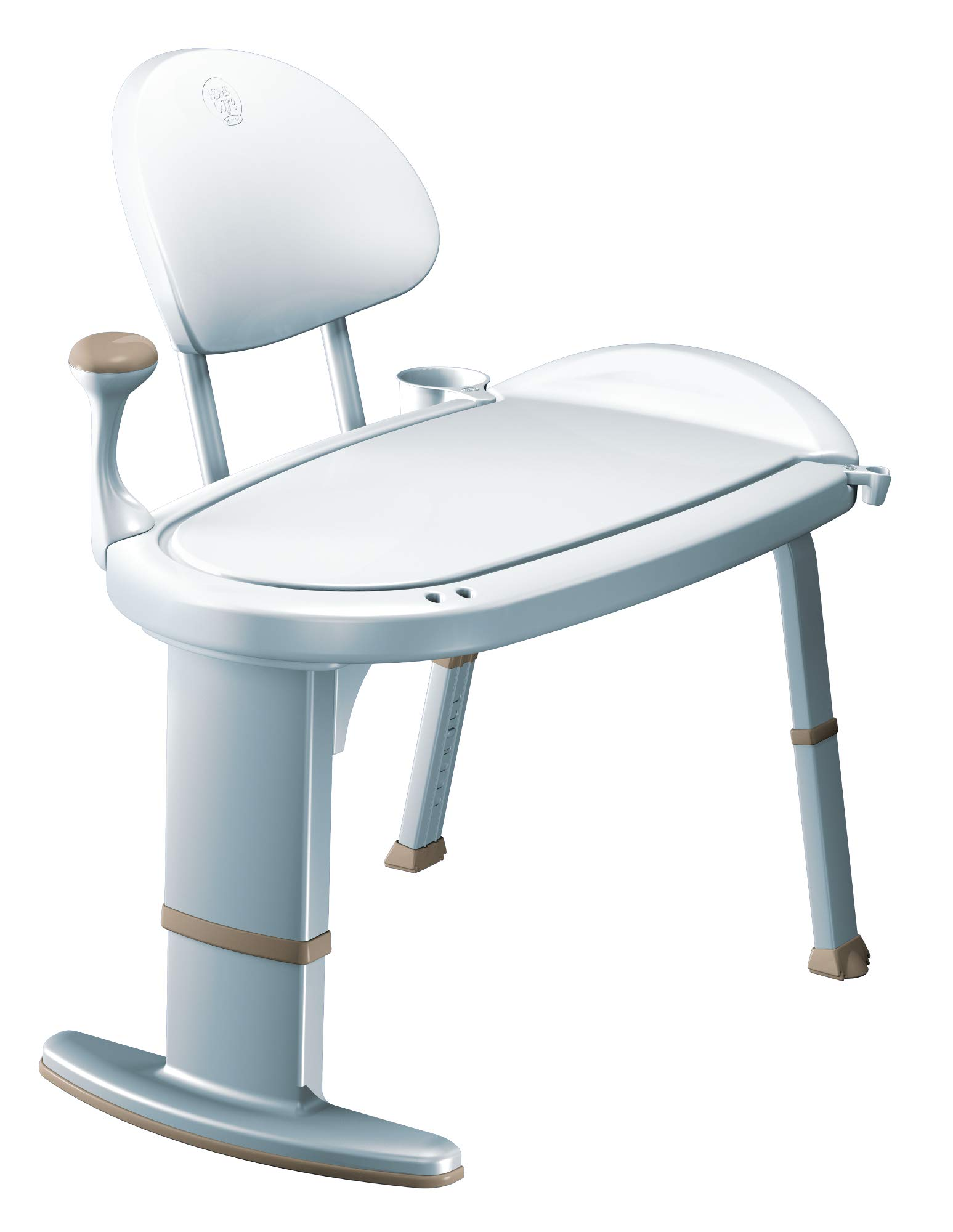 Moen DN7105 Home Care 33-Inch W x 18-Inch D Adjustable Height Non Slip Bath Safety Transfer Bench, Glacier White by Moen