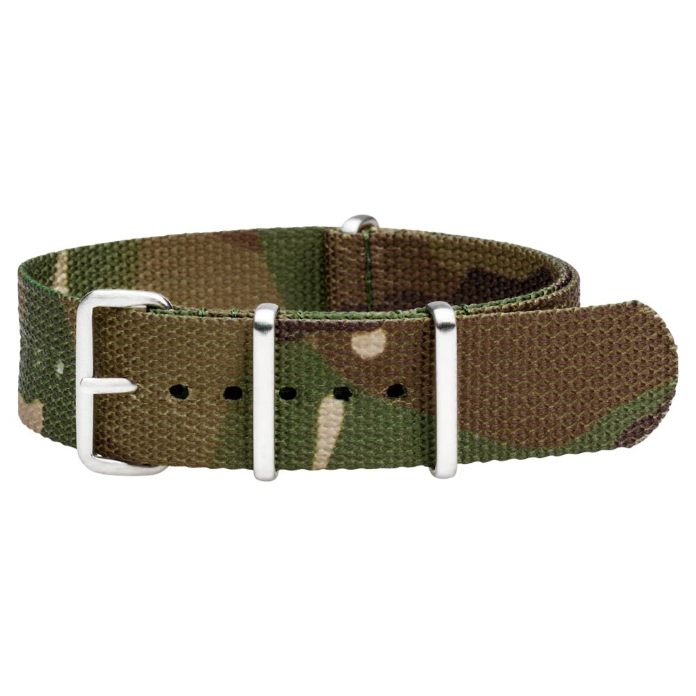 Clockwork Synergy Premium Nylon Nato Watch Straps bands Brushed Steel Hardware (28mm, Army Camo)