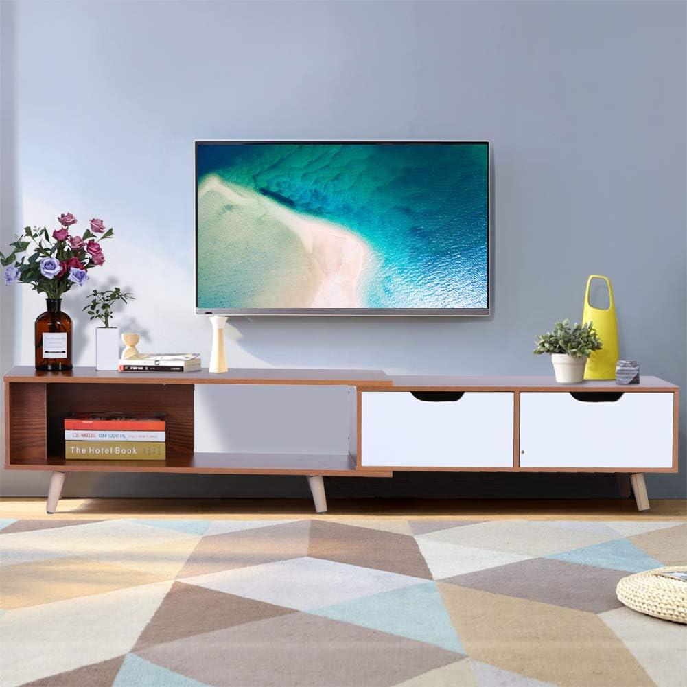Moderna mesa de consola de TV extensible con 2 cajones para sala de estar, para TV de 55