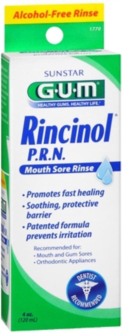 GUM Rincinol P.R.N. Mouth Sore Rinse 4 oz (Pack of 4)