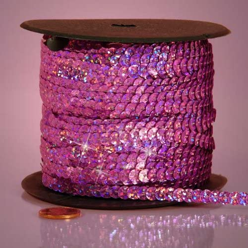 PEPPERLONELY Brand 80 Yard//Roll 6mm Holographic Faceted Sequin Trim Pink