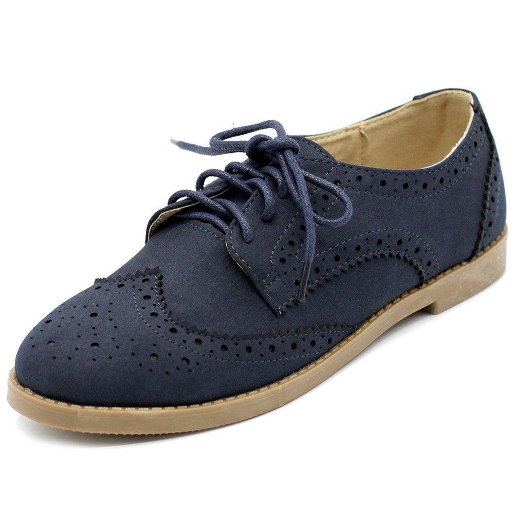 Ollio Women's Flat Shoe Wingtip Lace up Faux Nubuck Oxford M2920 (10 B(M) US, Navy)
